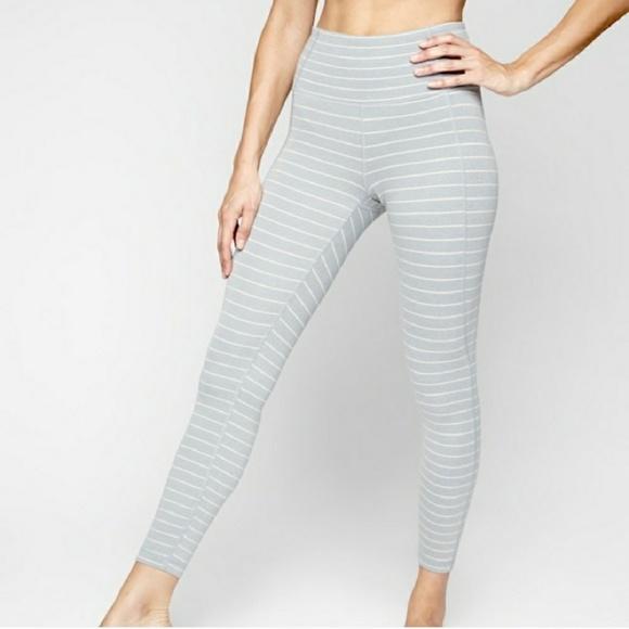 40fe542bb27ff Athleta Pants | Grey White Striped Salutation Leggings | Poshmark
